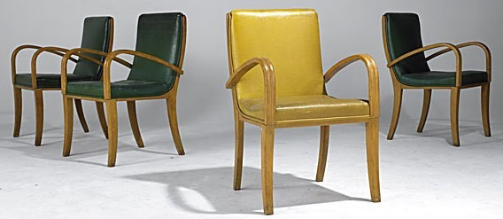 Four Armchairs Attributed To Gilbert Rohde For Haywood Wakefield P4A Item  D9670235